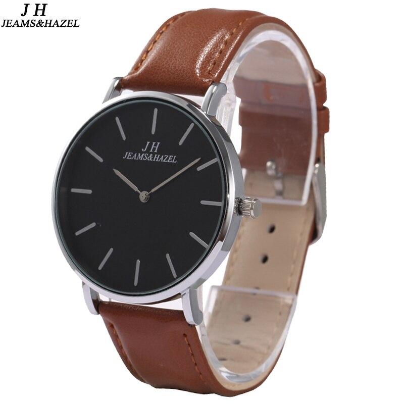 Классические черные и коричневые мужские часы, роскошные часы из натуральной кожи, водонепроницаемые кварцевые тонкие наручные часы