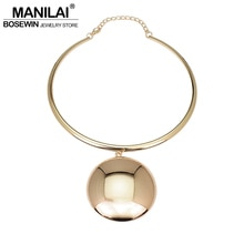 MANILAI métal déclaration couples collier ras du cou grand alliage circulaire Maxi collier pendentifs colliers pour femmes bijoux