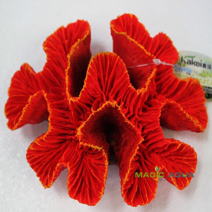 Coral marino Artificial de resina roja mágica para acuario, decoración paisajística