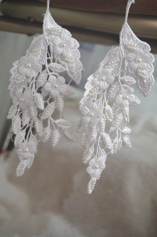 20 piezas beige ace applique, 3D heavy bead leaf Apliques de encaje con flores 3D, apliques de encaje hechos a mano, apliques de novia