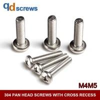 304 m4m5 stainless steel pan head screws with cross recess cross head phillip round screw gb818 din7985 iso 7045