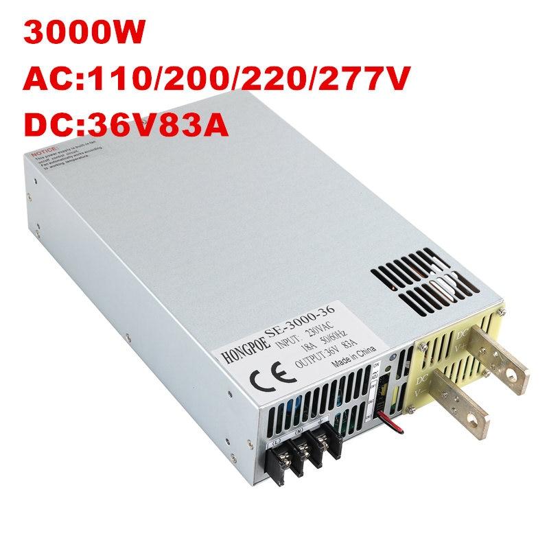 3000W 36V fuente de alimentación 0-36V potencia ajustable 36VDC AC-DC 0-5V Control de señal analógica SE-3000-36 transformador de potencia 36V 83A