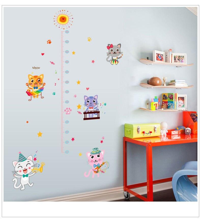 Dibujos Animados habitación de los niños bebé gatito calcomanías para medir estatura foto de dormitorio Marco de altura pegatinas de pared papel tapiz adhesivo