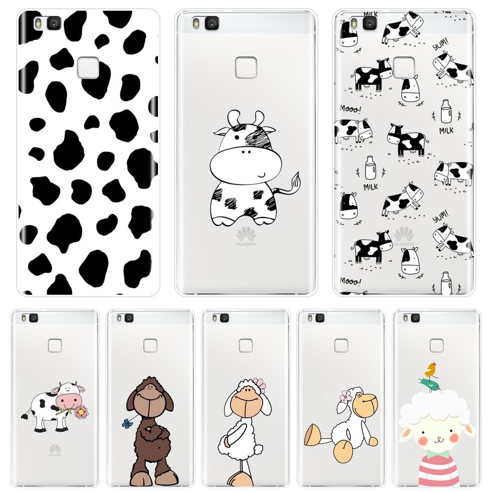 Para Huawei P9 Lite Mini P10 P Smart Plus P20 Pro P8 P9 P10 P20 Lite 2017 funda de teléfono de silicona vaca oveja Animal suave