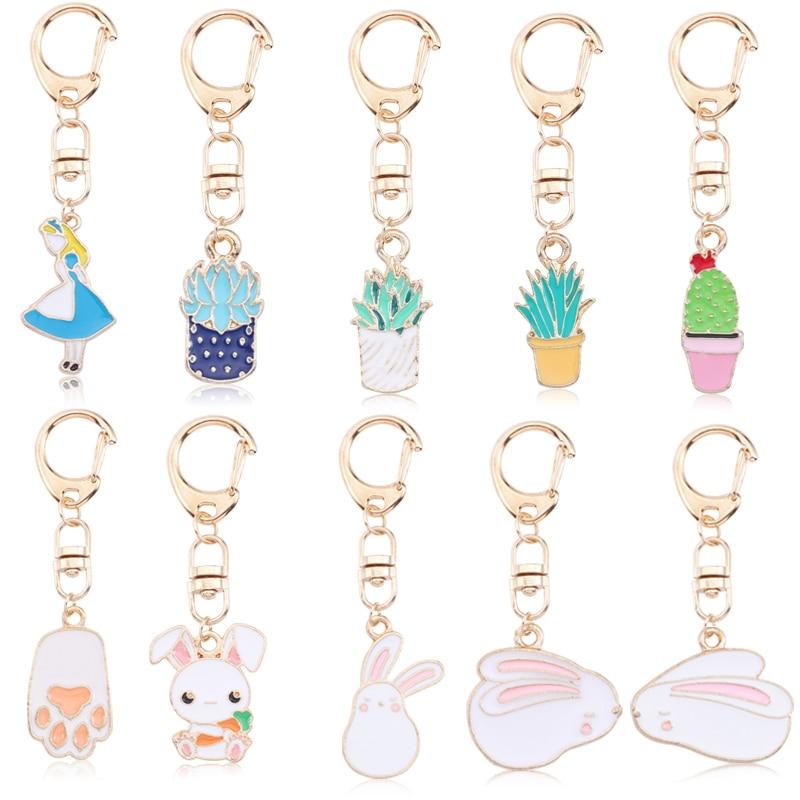 Cute Cartoon Rabbit Paw Keychains For Women Girls Lovely Potted Plant Cactus Alice Girl Key Ring Children Gift Bag Anime Pendant