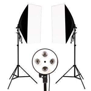 Image 2 - 50*70 см комплект освещения для фотосъемки 2 шт. 4 гнезда держатель лампы + 2 шт. софтбокса + 2 шт. 2 м осветительная стойка для внутреннего освещения фотостудии