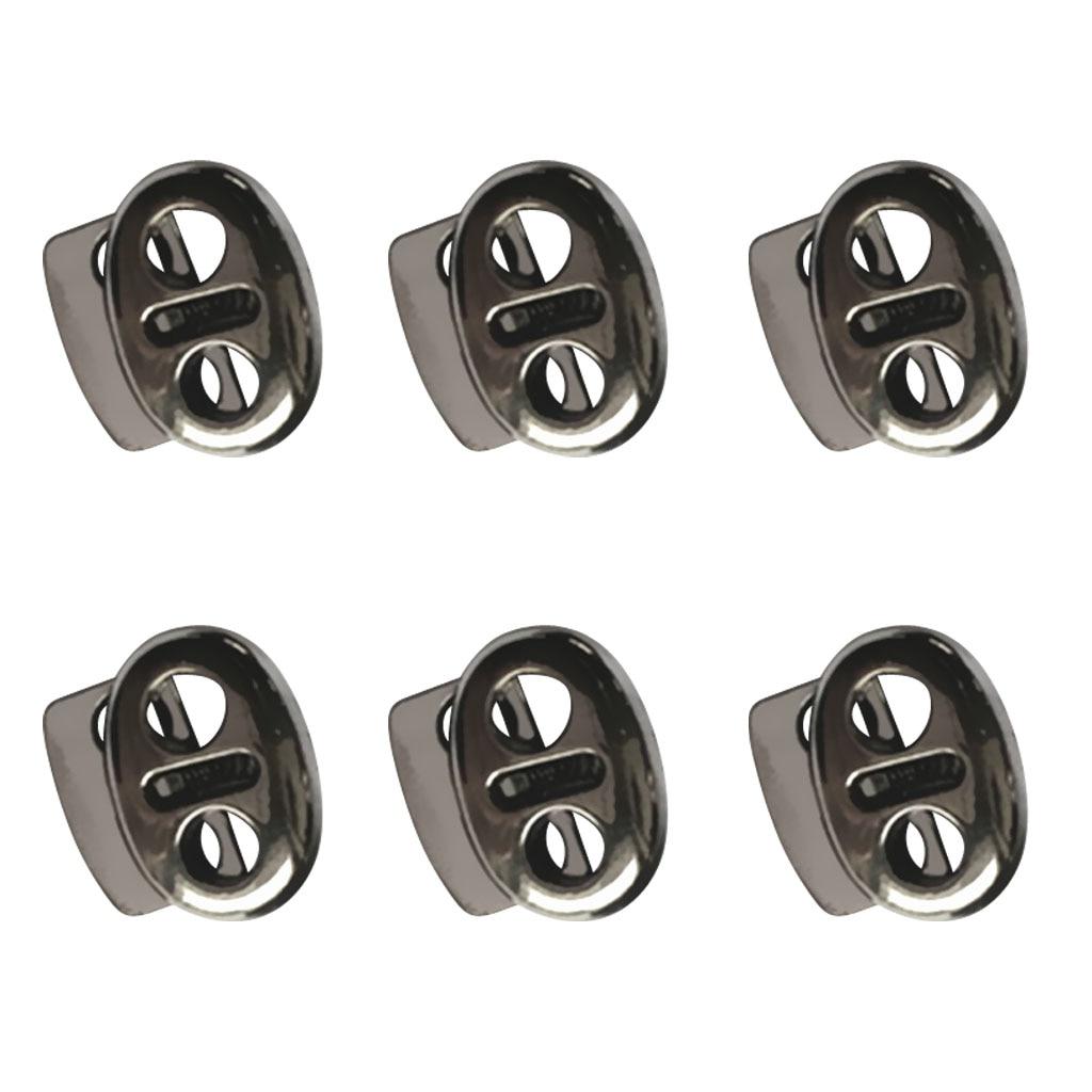 6 uds de Metal doble agujero ovalado de color gris de cordón cuerda cerraduras tapón de cierre deslizante de palanca termina ropa deportiva Cordón de ajuste