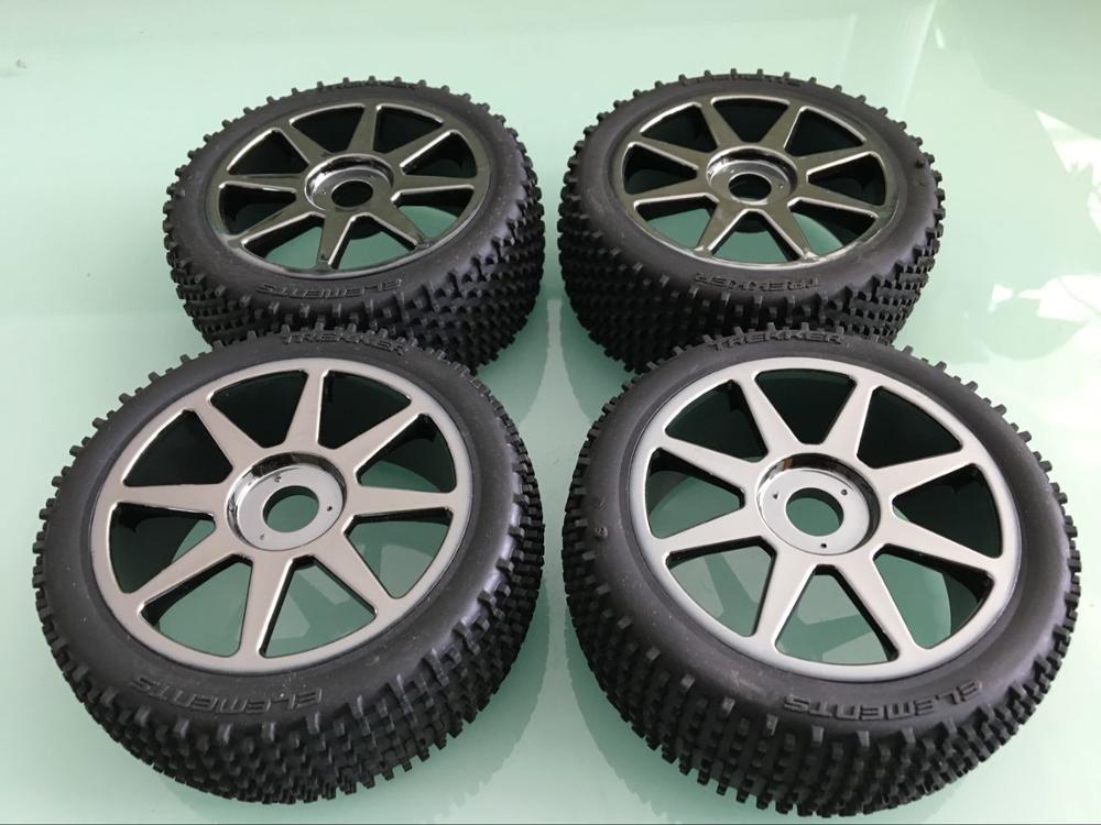 1/8 3.5 racing off road 113mm Titanium Wheel Tire set for HPI Vorza Flux Trophy Buggy 4pcs