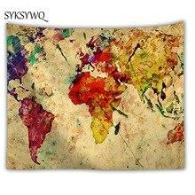 vintage world map wall blanket large tapestry wall fabric macrame wall art polyeser fabric drap mural