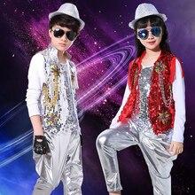 Costumes à paillettes pour garçons   Hauts + gilet + pantalon, costume de danse pour enfants, tenue de bal de mariage pour enfants, costume de Jazz Hip Hop, vêtements pour chœur