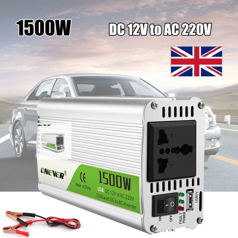 محول طاقة مع مؤشر LED ، 12 فولت تيار مستمر إلى 220 فولت تيار متردد ، 1500 واط ، ولاعة سجائر ، إنذار