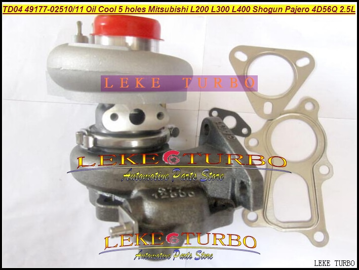 Envío Gratis TD04 49177-02510, 49177-02511 Turbo para Mitsubishi L200 L300 L400 SHOGUN Pajero 90-4D56Q 2.5L aceite Cool + Salida 5 agujero