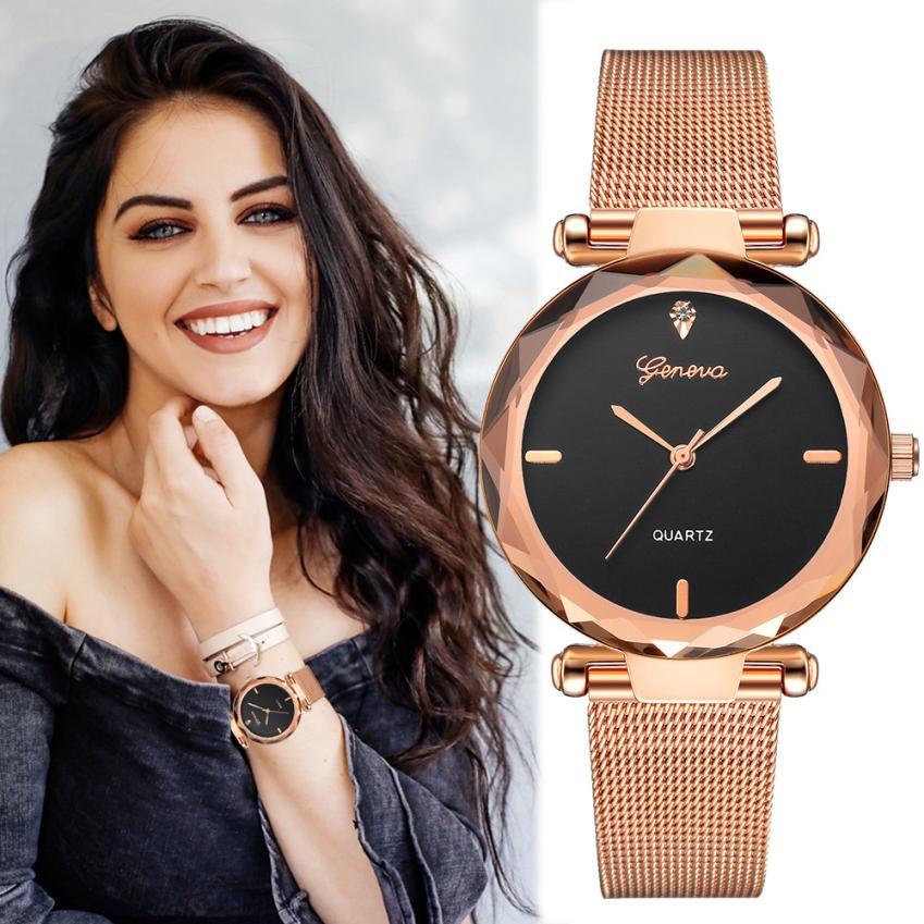 Geneva Brand Fashion Classic Gold Mesh Band Creative Elegant Wrist Watch Casual Women Quartz Watches Gift Relogio Feminino #D