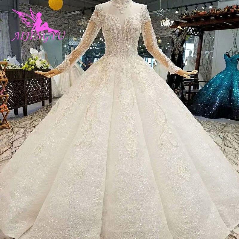 AIJINGYU فساتين زفاف مخصصة 2021 2020 كم طويل الدانتيل الأبيض الملكة مسلم متواضعة روب للنوم فساتين الزفاف
