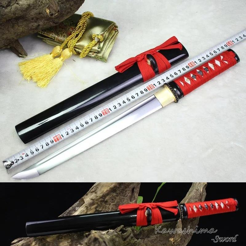 Japanischen Samurai Schwert Handgemachte Wakizashi/Tanto High Carbon Stahl Full Tang Schärfe Bereit für Schneiden Papier