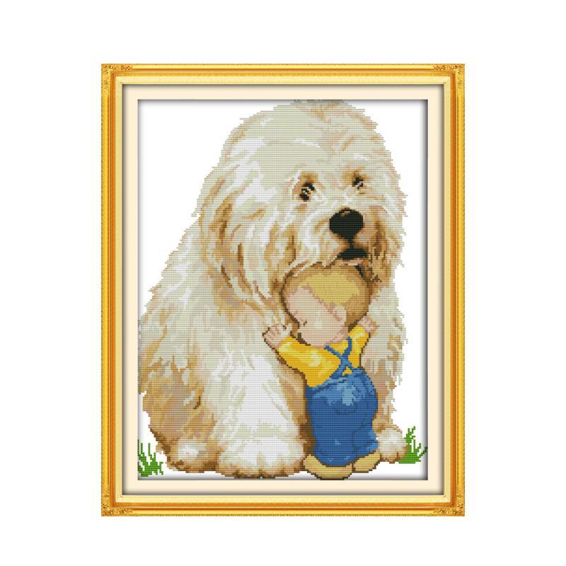 Perro y niño de punto de cruz 14ct kit de 11ct de estampado de mano bordado de arte hecho a mano de costura