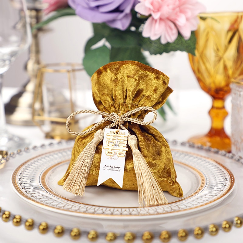 10 Uds 2019 nueva llegada europeo dorado creativo caja de caramelos para obsequio en boda bolsa caja de dulces de chocolate caja de regalo de boda