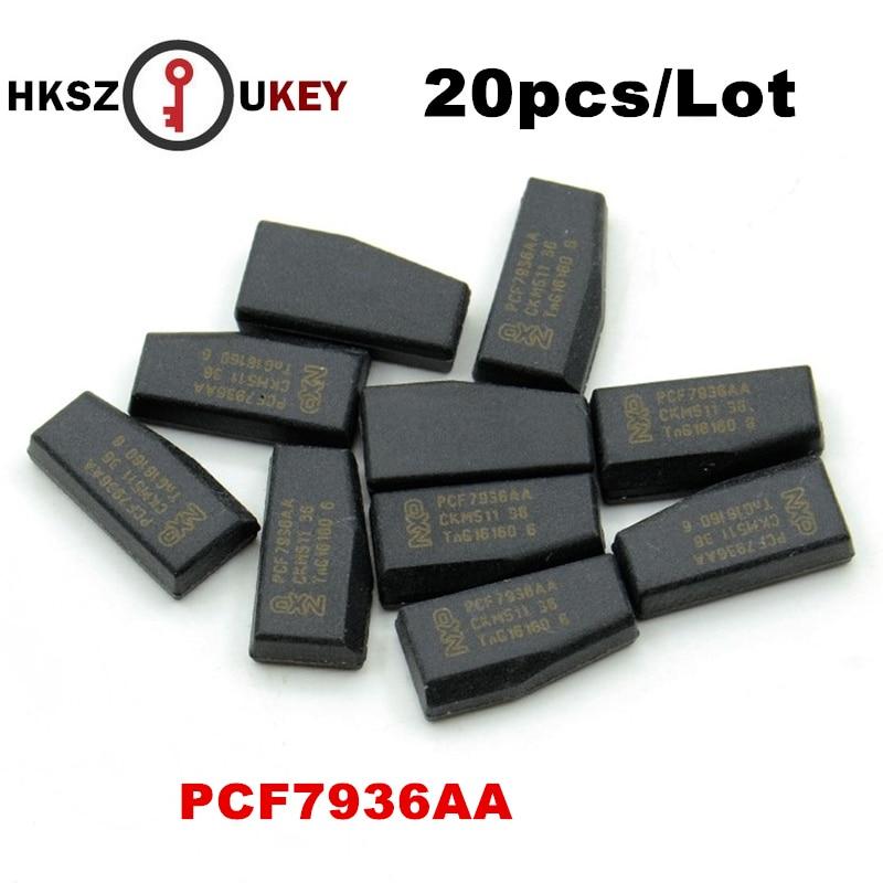 HKSZUKEY 20 pçs/lote PCF7936 transponder chip ID46 Chip, PCF7936AS ID46 transponder chip de carbono Para A Opel, suzuki,-P eugeot Citroen