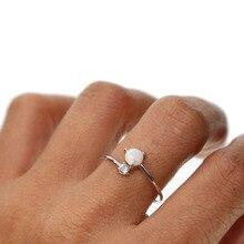 925 argent sterling ajuster mignon simple rangée blanc feu opale anneaux pour les femmes Vintage 925 argent Sterling rempli CZ anneaux