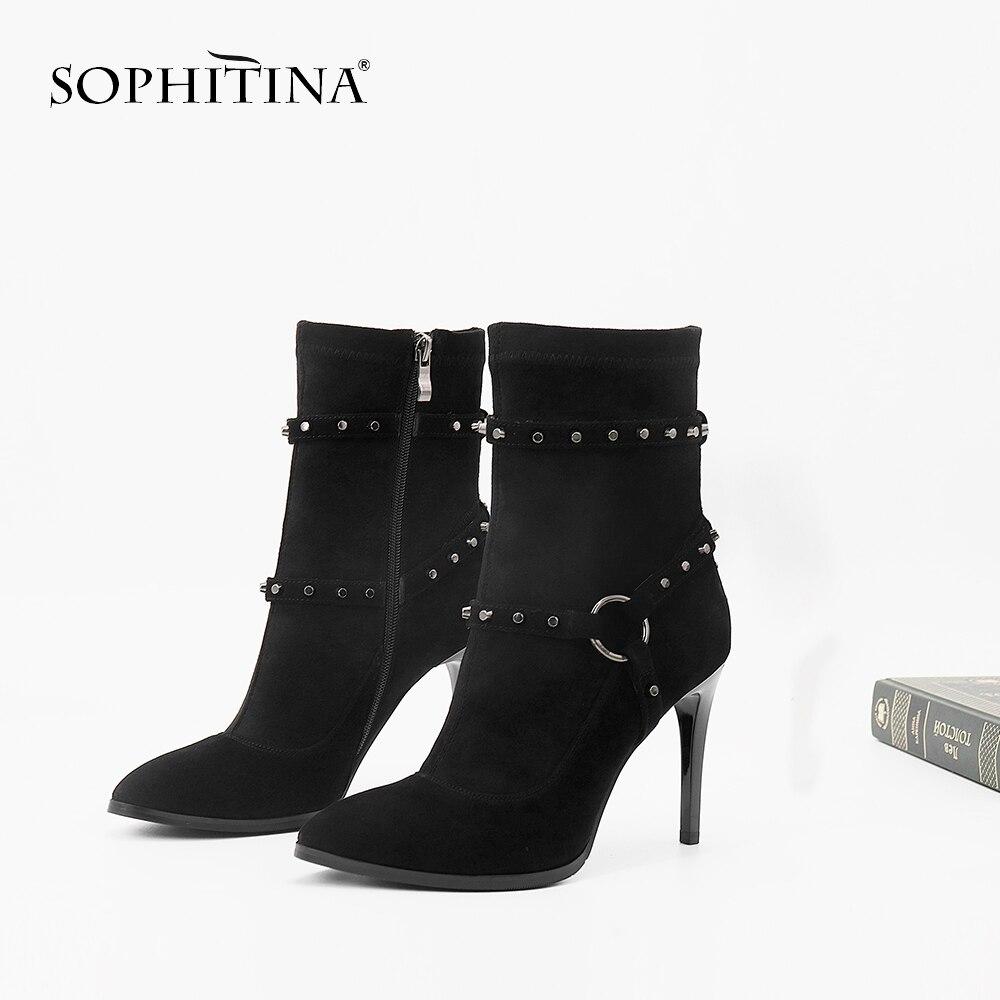 SOPHITINA 2019 Sexy puntiagudos y remache Super alta delgada talón punta redonda calidad chico Suede zapatos hechos a mano con felpa corta PL4