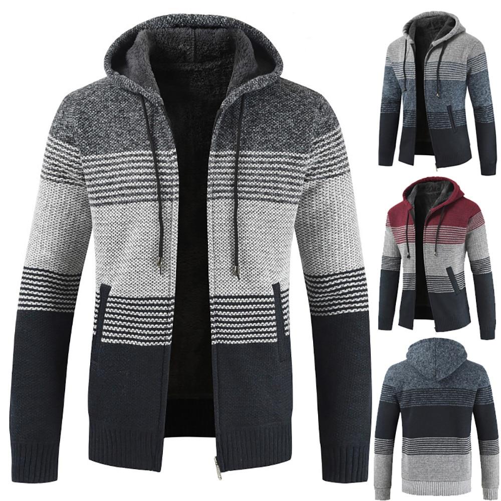 Homens inverno cardigan listrado zíper com capuz outwear tops blusa casacos sudaderas para hombre jaquetas e casacos casaco masculino