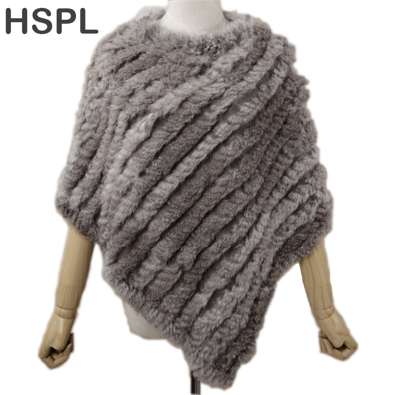 HSPL Fur Poncho 2019 Autumn Real Rabbit Hot Sale Triangle Knitted Women Pullover Lady Pashmina Wrap