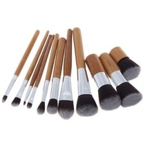 Fashion Bamboo Makeup Brushes Set with Bag Cosmetics Foundation Make Up Brush Tools Kit for Powder Blusher Eye Shadow B11001