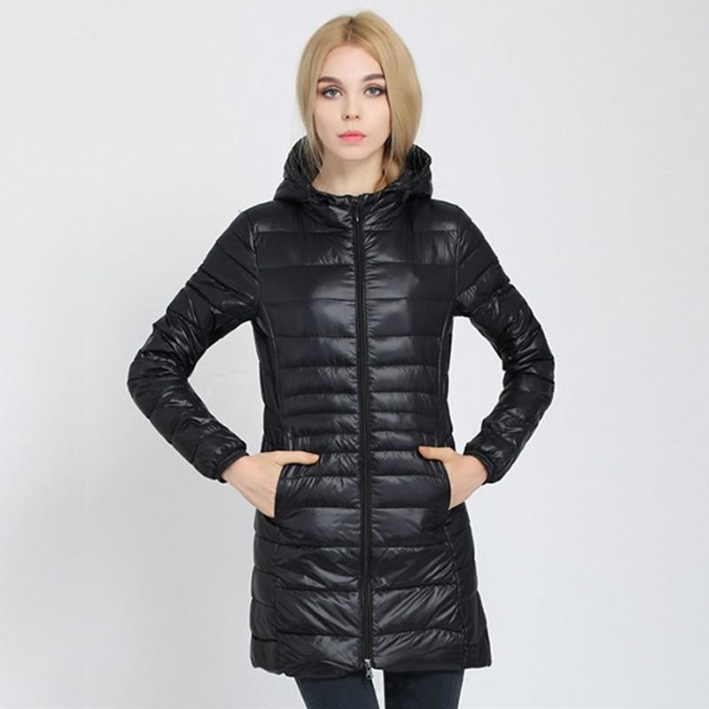 Winter Jacket Women 2020 New Slim Hooded Down Jackets Woman's Warm Down Coat Ultra Light Jackets Portable Duck Down Parkas 6XL