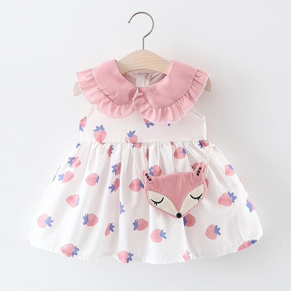 Kids Dresses For Girls Pink Toddler Baby Ruffles Strawberry Print Dress Princess Dresses Bag Doll Collar Dress + Satchel A1