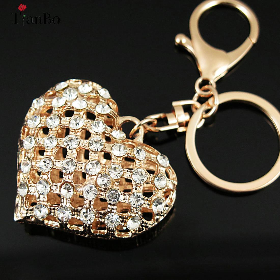 Брелок для ключей TianBo, брелок из сплава с кристаллами и стразами в форме сердца для женщин