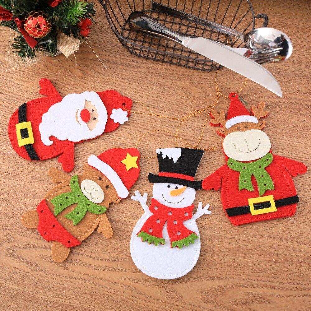 Santa Hat Reno Navidad Año nuevo bolsillo tenedor cuchillo cubiertos bolsa fiesta en casa Decoración de mesa de cena vajilla 62414