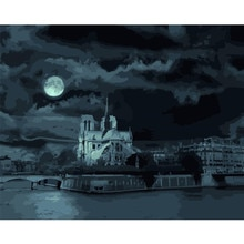 Pintura por números DIY Dropshipping 40x50 50x65cm Moonlight Notre Dame paisaje lienzo decoración de la boda arte imagen regalo
