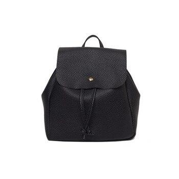 Women PU Leather Backpack Leisure Student Schoolbag Drawstring Satchel Travel Backpack Deri Sirt Cantasi #Zer