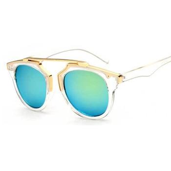 2015 cat eye sunglasses round metal frame reflective mirror glasses for men and women couple style Brand Designer retro De Sol