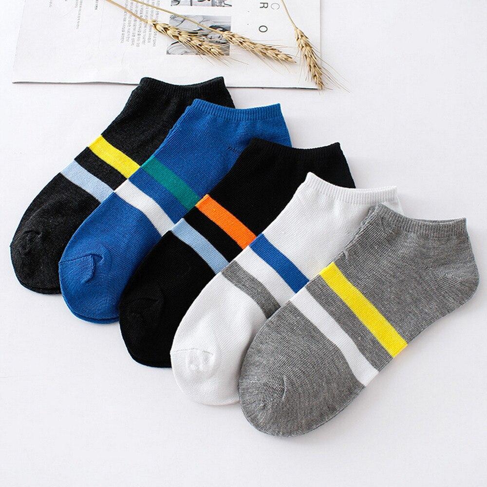 CHAMSGEND פסים חם גרבי קיץ גברים ונשים פסים רדוד פה כותנה גרביים לנשימה מזדמן נוחות גרביים