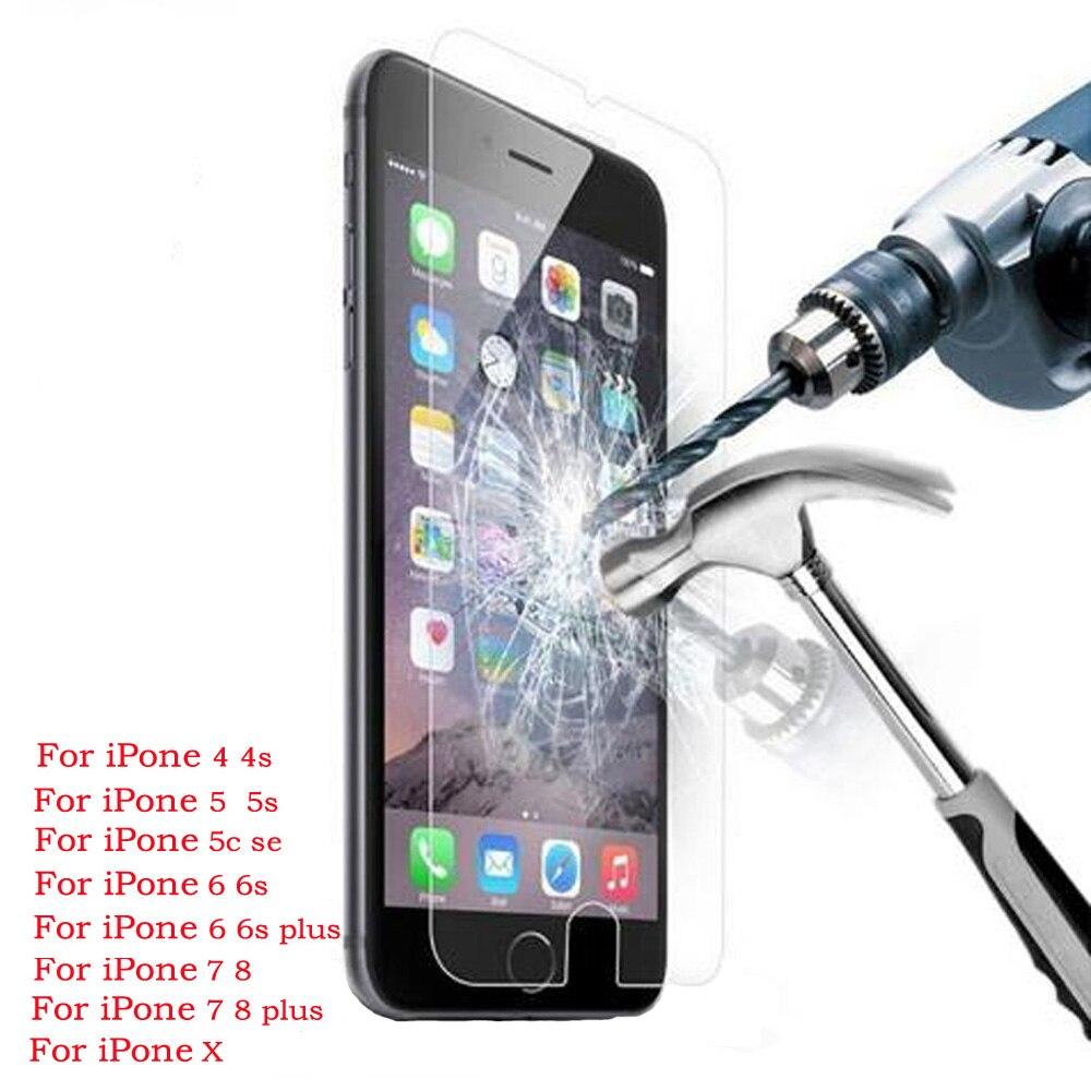 Protecteur d'écran 9H pour iphone, film en verre trempé pour modèles X, 8, 4s, 5, 5s, 5c, SE, 6, 6s plus, 7 plus