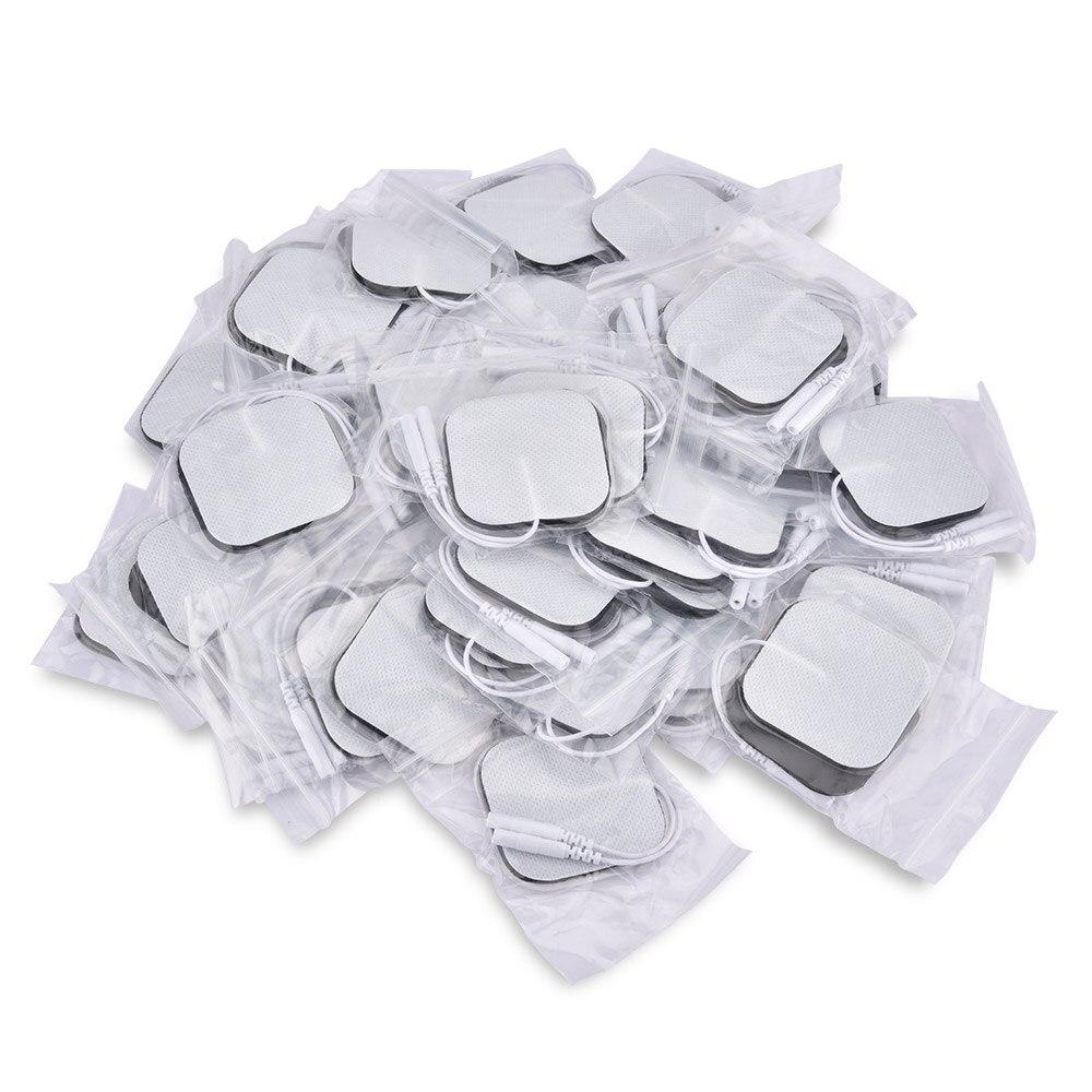 Almohadillas de repuesto autoadhesivas, 50 Uds./100 Uds., electrodos cuadrados de 4x4/5x5 cm, Estimulador muscular, masajeador eléctrico de máquina Digital