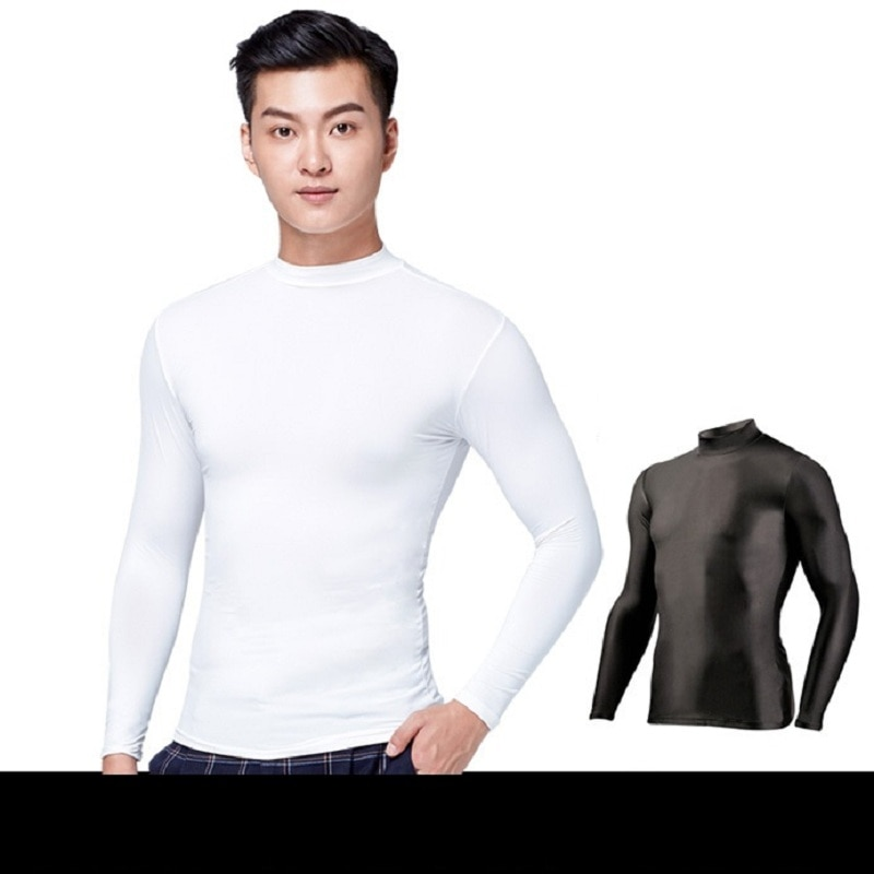 Mens Summer Tight Sunscreen Shirt Underwear Anti-UV Fitness Golf Shirt Silk Ice Long Sleeve Golf Apparel Clothing D0667