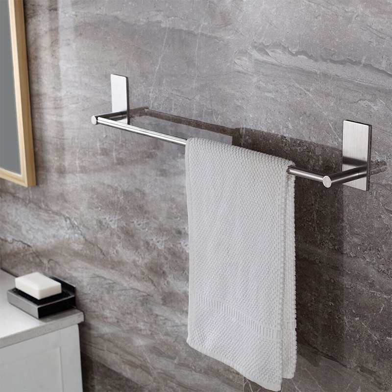 Poderoso sem emenda do banheiro cozinha banheiro auto-adesivo única barra de toalha de aço inoxidável rack de gancho sem broca pendurado na parede