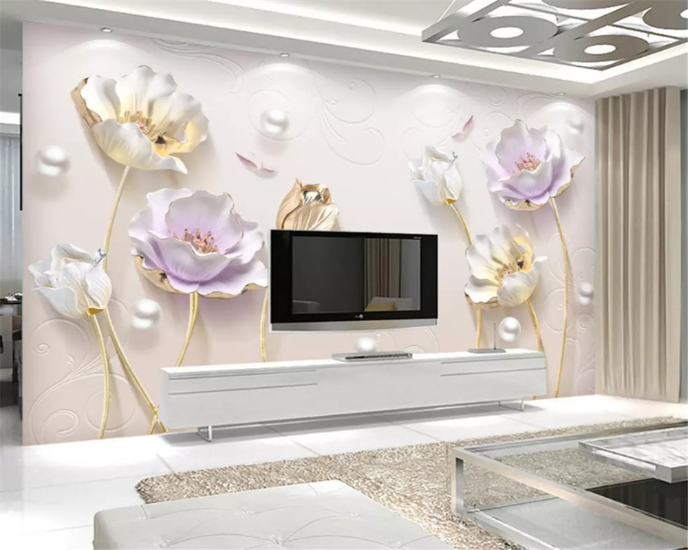 beibehang Embossed elegant Chinese simple jewelry three-dimensional tulip background wall paper decorative painting 3d wallpaper beibehang formaldehyde free classic wall paper embossed lotus vintage watercolor lotus leaf porch decorative painting wallpaper