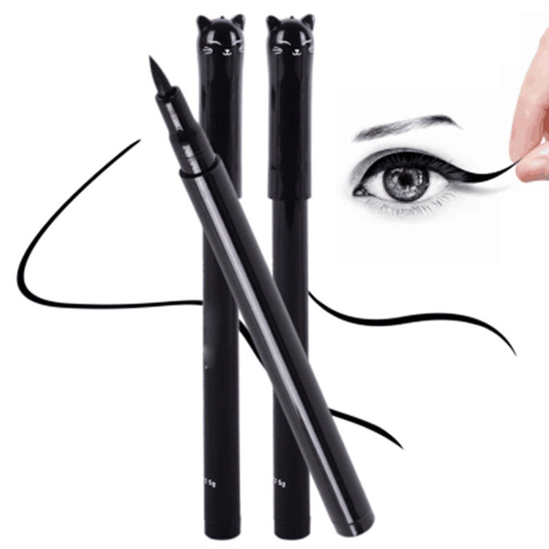 1 pieza nueva belleza Estilo de gato delineador de ojos líquido resistente al agua de larga duración negro delineador de ojos pluma lápiz de maquillaje cosmético herramienta