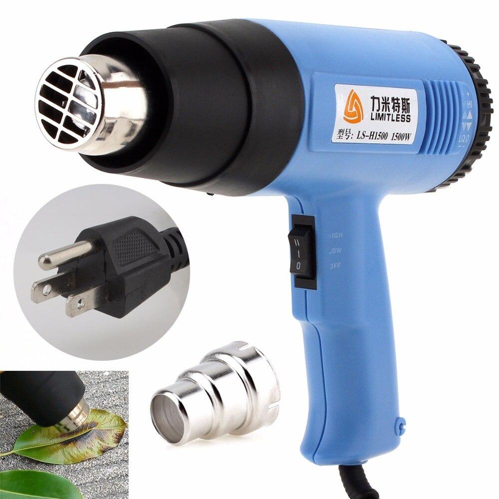 Pistola de calor eléctrica AC110V US Plug ajustable, volumen de aire 1500W, pistola de Hotair de mano para pelar pintura de papel tapiz/envolver retráctil