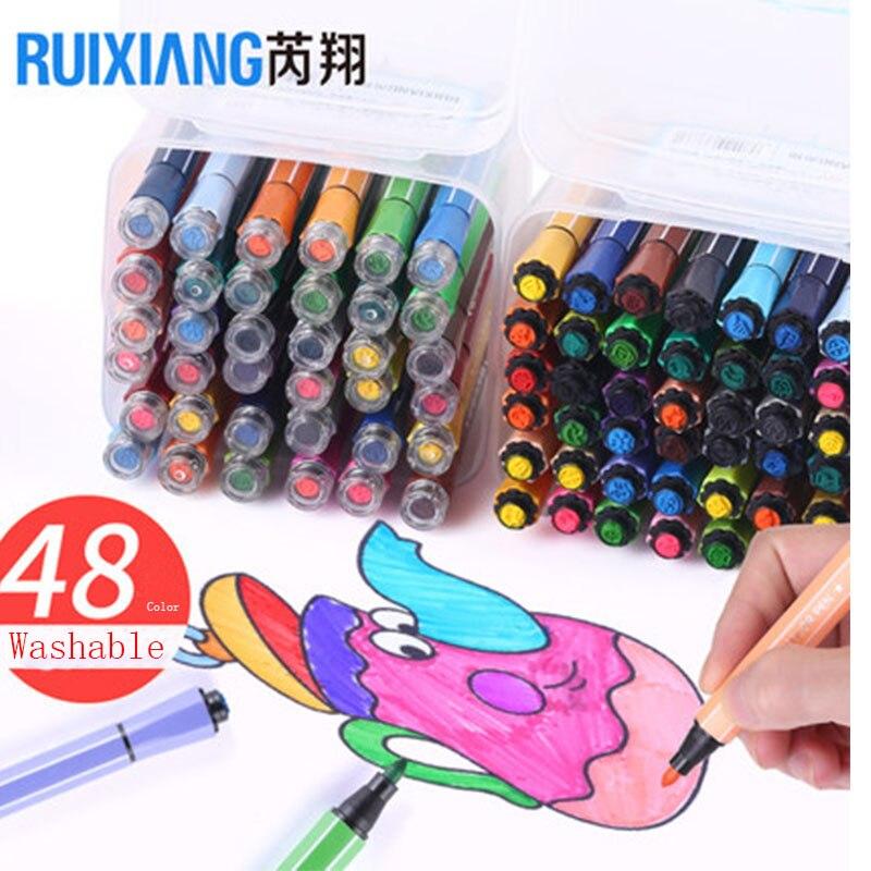 Bolígrafo De 12 colores con sello, papelería, acuarela, oficina, escuela, lavable, Color suave, vívido, lápiz de belleza