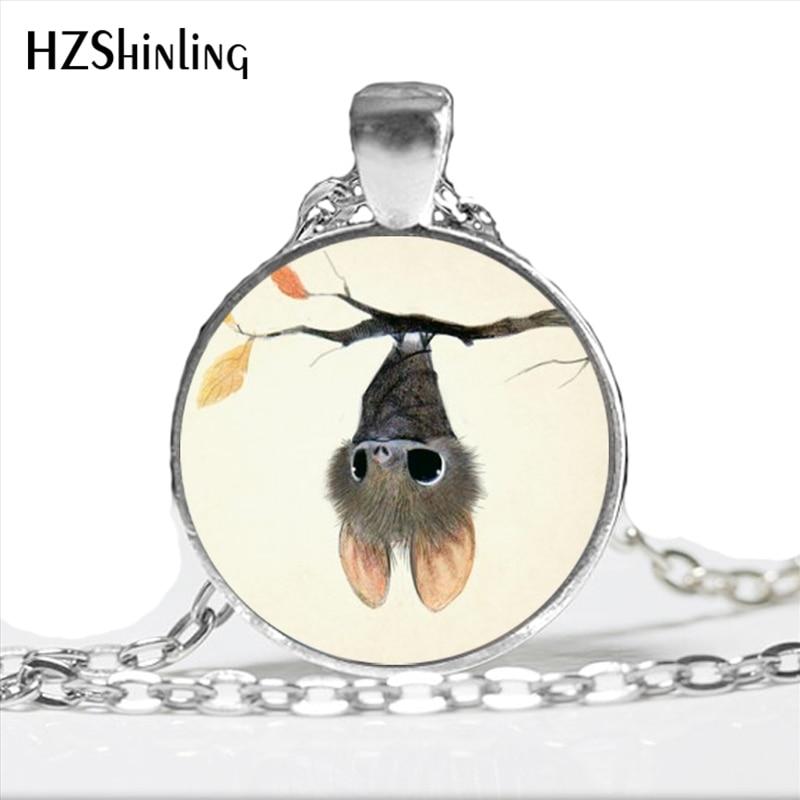 2017 New Fashion Little Bat Pendant Necklace Cute Cartoon Halloween Bat Jewelry Glass Dome Animal Necklace HZ1