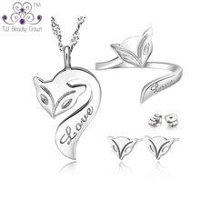 캐주얼 매칭 925 순수 실버 귀여운 화재 여우 동물 펜던트 목걸이 귀걸이 반지 패션 쥬얼리 젊은 숙녀 소녀에 대한 설정