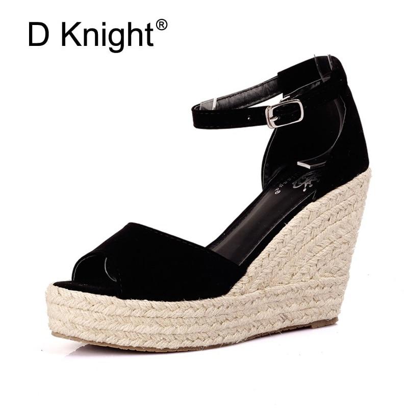 Plus Size 34-44 Summer Style Women Wedge Sandals Fashion Concise Open Toe Platform High Heels Women Sandals Ladies Casual Shoes