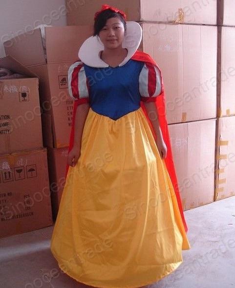 New Adult Deluxe Plush Foam Head Snow White Christmas Mascot Fancy Dress Halloween Mascot Costume Free Ship