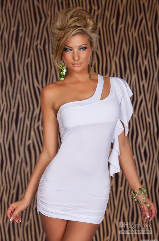 Gran oferta vestido con un hombro al descubierto 3S2078 Mini vestido blanco Sexy, Vestido corto barato, ropa para discoteca