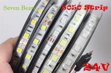 IP20/65 DC24V led strip 5050 24v SMD 5M 300led 60led/M wit/Warm wit /RGB flexibele led lint waterdicht indoor decoartion