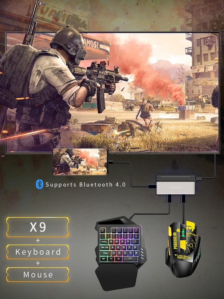 4k 60Hz PUBG Gamepad controlador de teclado y ratón convertidor HDMI Bluetooth adaptador de enchufe y teléfono PC TV misma pantalla